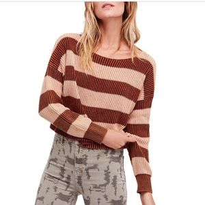 NWT Free People Just My Stripe Cropped Sweater